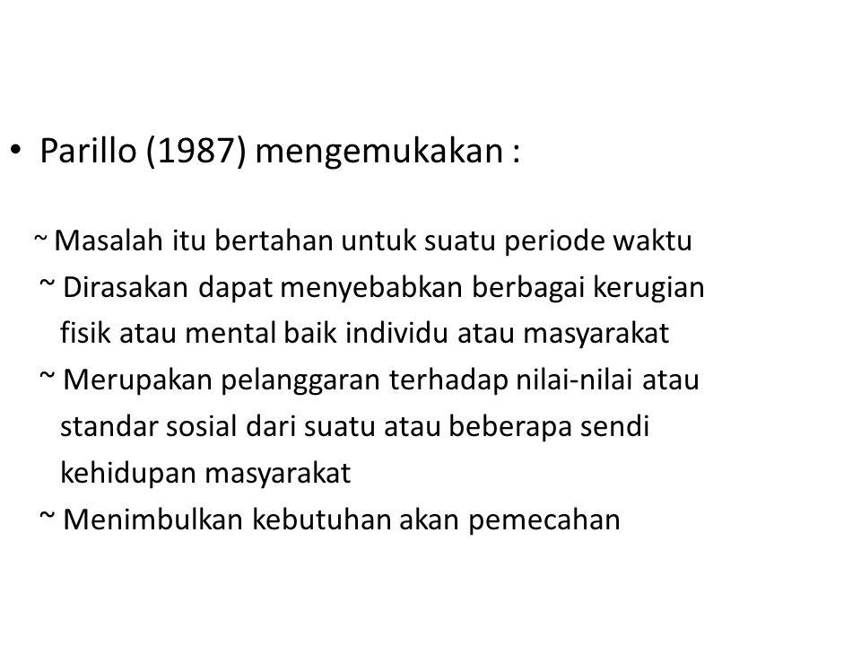 Parillo (1987) mengemukakan : ~ Masalah itu bertahan untuk suatu periode waktu ~ Dirasakan dapat menyebabkan berbagai kerugian fisik atau mental baik individu atau masyarakat ~ Merupakan pelanggaran terhadap nilai-nilai atau standar sosial dari suatu atau beberapa sendi kehidupan masyarakat ~ Menimbulkan kebutuhan akan pemecahan