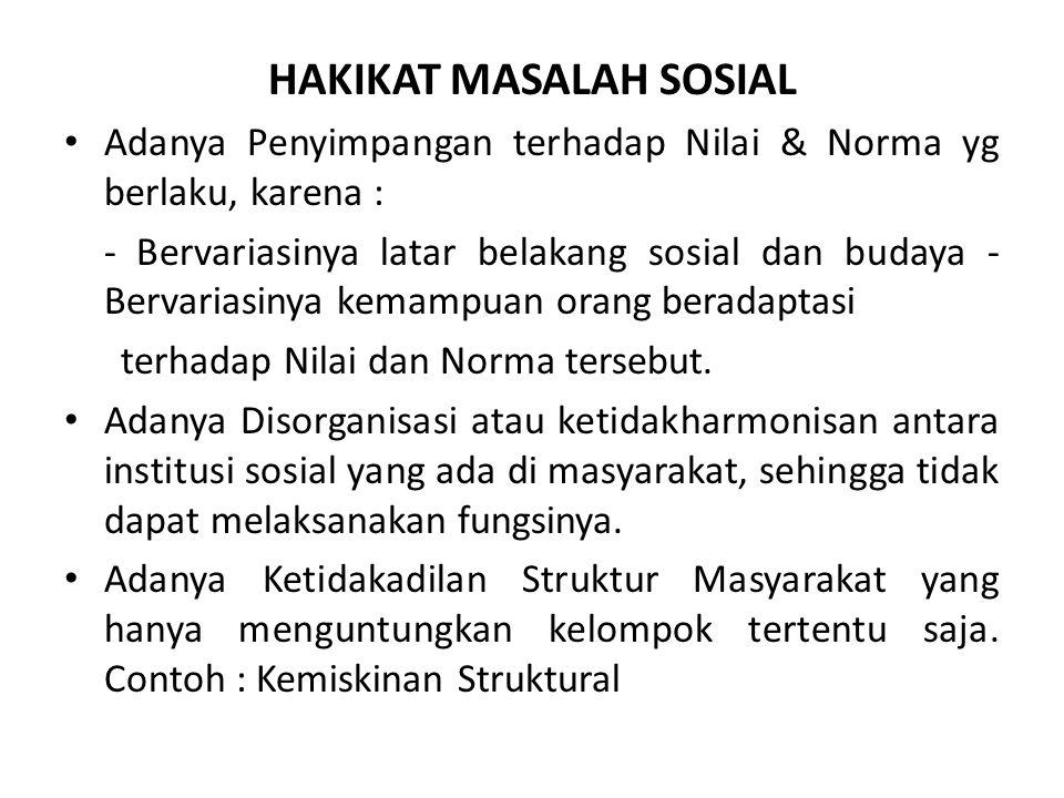 HAKIKAT MASALAH SOSIAL Adanya Penyimpangan terhadap Nilai & Norma yg berlaku, karena : - Bervariasinya latar belakang sosial dan budaya - Bervariasiny