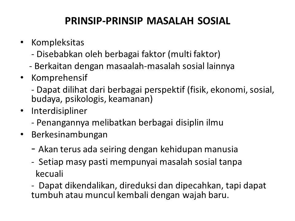 PRINSIP-PRINSIP MASALAH SOSIAL Kompleksitas - Disebabkan oleh berbagai faktor (multi faktor) - Berkaitan dengan masaalah-masalah sosial lainnya Kompre