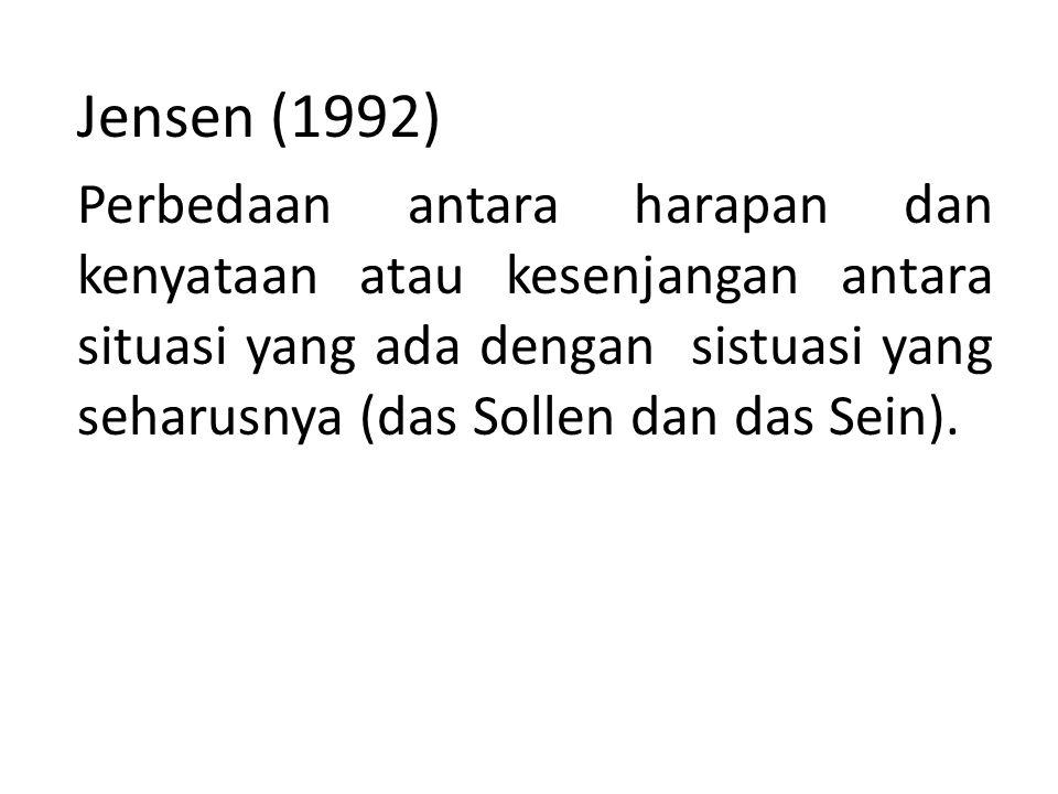 Jensen (1992) Perbedaan antara harapan dan kenyataan atau kesenjangan antara situasi yang ada dengan sistuasi yang seharusnya (das Sollen dan das Sein).