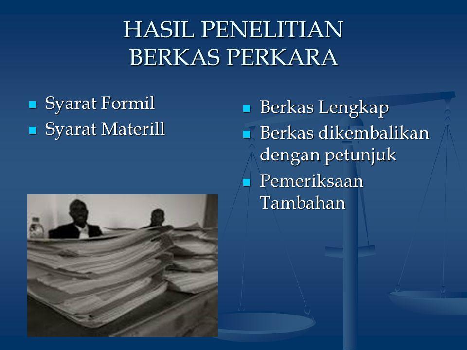 HASIL PENELITIAN BERKAS PERKARA Syarat Formil Syarat Formil Syarat Materill Syarat Materill Berkas Lengkap Berkas dikembalikan dengan petunjuk Pemeriksaan Tambahan