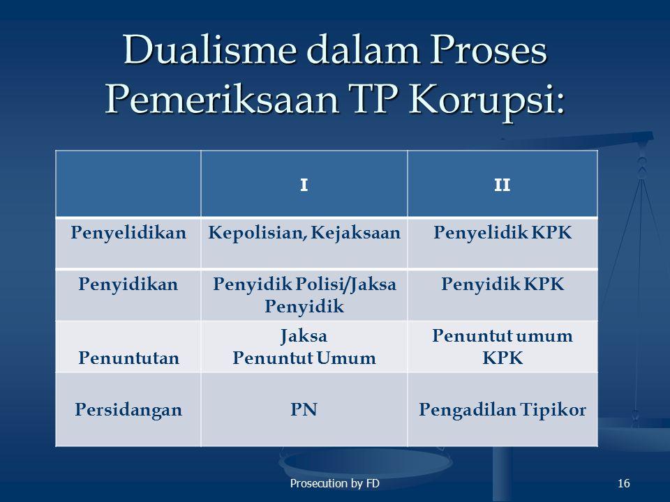 Prosecution by FD16 Dualisme dalam Proses Pemeriksaan TP Korupsi: III PenyelidikanKepolisian, KejaksaanPenyelidik KPK PenyidikanPenyidik Polisi/Jaksa Penyidik Penyidik KPK Penuntutan Jaksa Penuntut Umum Penuntut umum KPK PersidanganPNPengadilan Tipikor