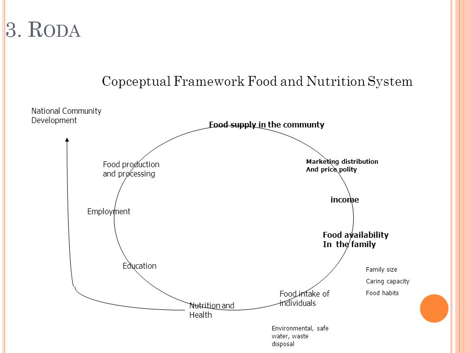 3. R ODA Copceptual Framework Food and Nutrition System Food supply in the communty Marketing distribution And price polity income Food availability I