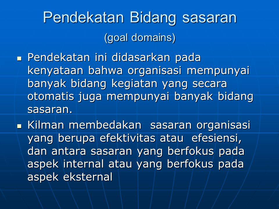 Pendekatan Bidang sasaran (goal domains) Pendekatan ini didasarkan pada kenyataan bahwa organisasi mempunyai banyak bidang kegiatan yang secara otomat
