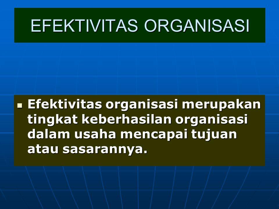 EFEKTIVITAS ORGANISASI Efektivitas organisasi merupakan tingkat keberhasilan organisasi dalam usaha mencapai tujuan atau sasarannya. Efektivitas organ