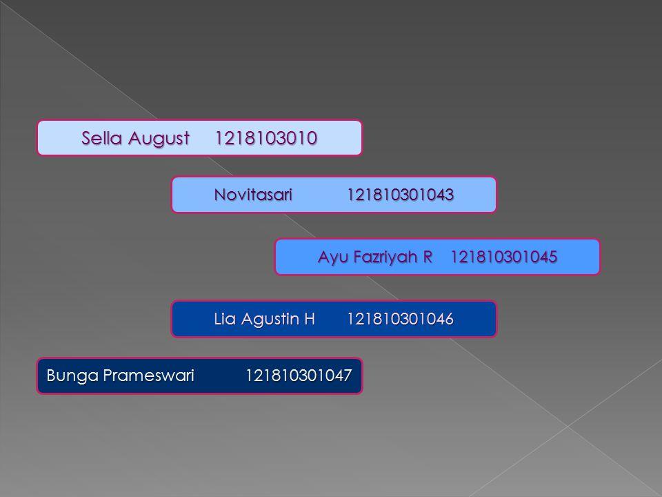 Novitasari 121810301043 Sella August 1218103010 Ayu Fazriyah R121810301045 Lia Agustin H121810301046 Bunga Prameswari 121810301047