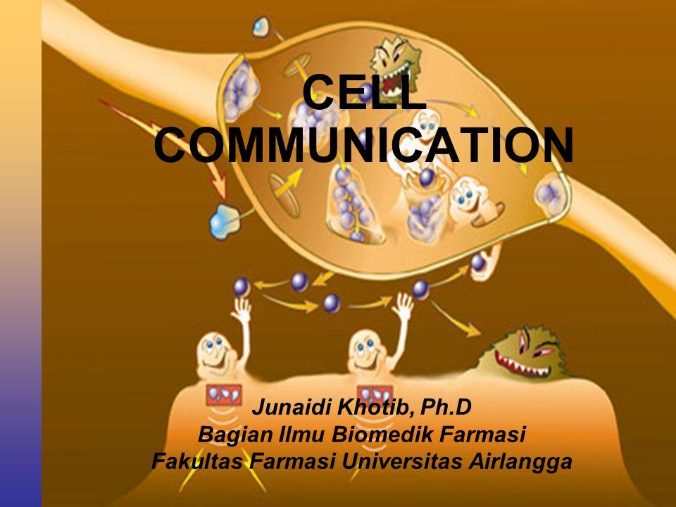 Pengertian Cell communication: Sistem penghantaran informasi atau signal dari sel yang satu ke sel yang lain atau di dalam sel itu sendiri untuk melakukan aktivitas dan fungsi koordinasi.
