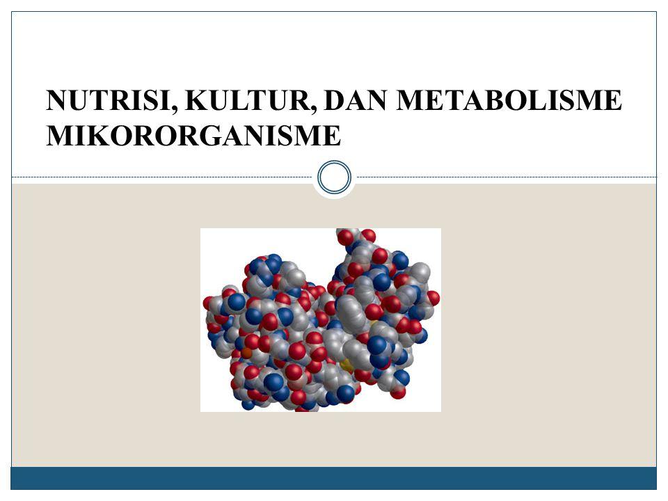 Faktor Pertumbuhan  Senyawa organik yang dibutuhkan dalam jumlah yang sangat sedikit  Merupakan senyawa kimia yang tidak dapat disintesis oleh mikroorganisme  Senyawa oganik yang dapat diperoleh dari lingkungan  Contoh : Vitamins, asam amino, purin dan pirimidin