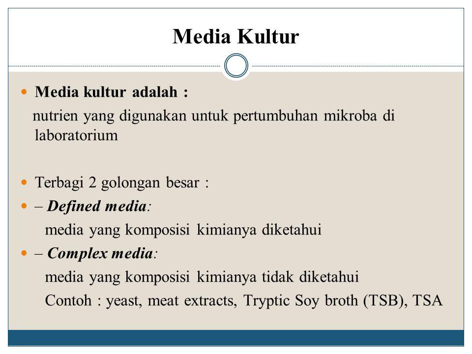 Media Kultur Media kultur adalah : nutrien yang digunakan untuk pertumbuhan mikroba di laboratorium Terbagi 2 golongan besar : – Defined media: media