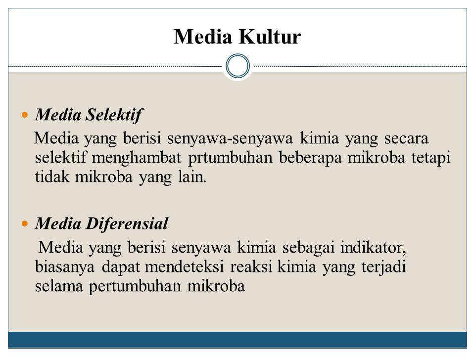 Media Kultur Media Selektif Media yang berisi senyawa-senyawa kimia yang secara selektif menghambat prtumbuhan beberapa mikroba tetapi tidak mikroba y