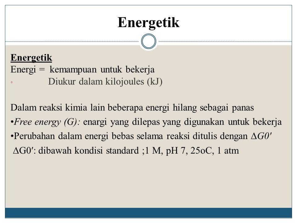 Energetik Energi = kemampuan untuk bekerja ◦ Diukur dalam kilojoules (kJ) Dalam reaksi kimia lain beberapa energi hilang sebagai panas Free energy (G)