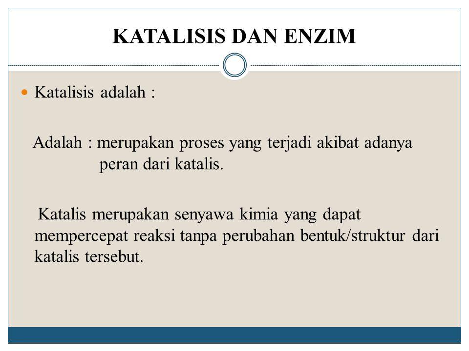 KATALISIS DAN ENZIM Katalisis adalah : Adalah : merupakan proses yang terjadi akibat adanya peran dari katalis. Katalis merupakan senyawa kimia yang d