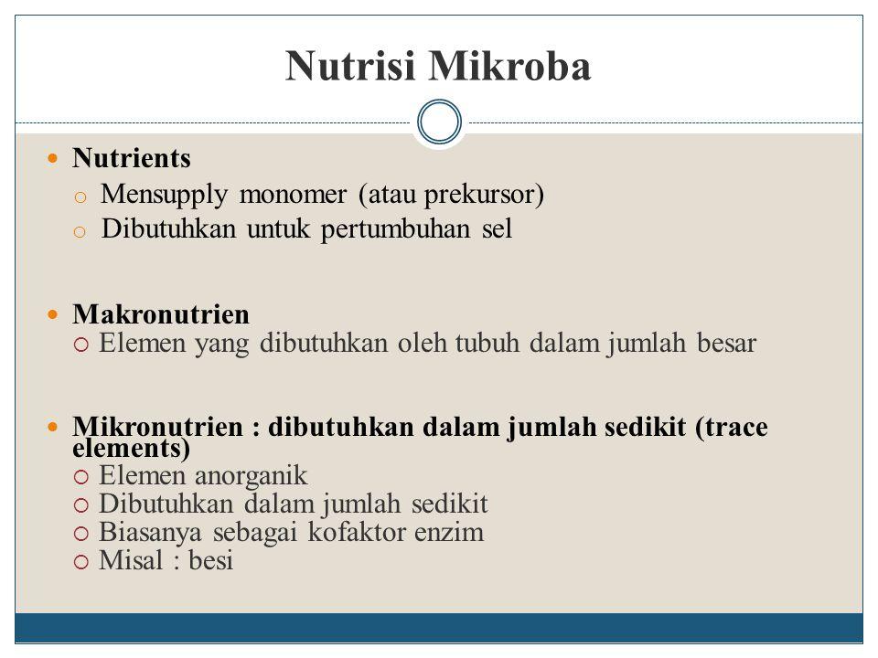 Nutrisi Mikroba Nutrients o Mensupply monomer (atau prekursor) o Dibutuhkan untuk pertumbuhan sel Makronutrien  Elemen yang dibutuhkan oleh tubuh dal