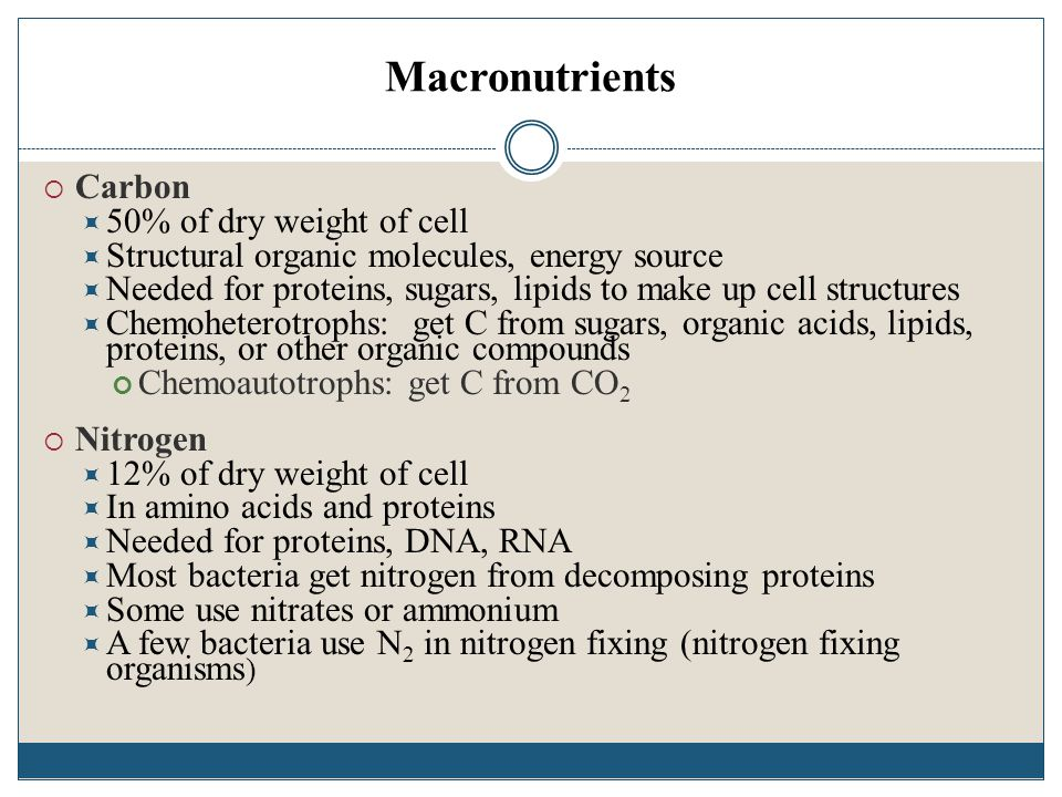 Macronutrients  Carbon  50% of dry weight of cell  Structural organic molecules, energy source  Needed for proteins, sugars, lipids to make up cel