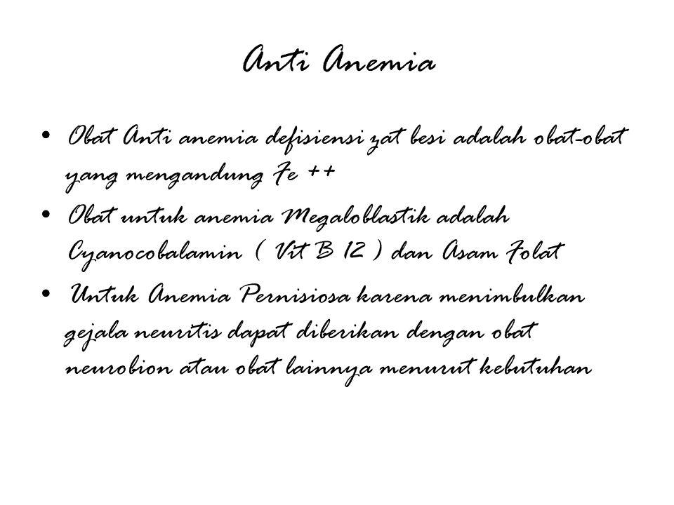 Anti Anemia Obat Anti anemia defisiensi zat besi adalah obat-obat yang mengandung Fe ++ Obat untuk anemia Megaloblastik adalah Cyanocobalamin ( Vit B