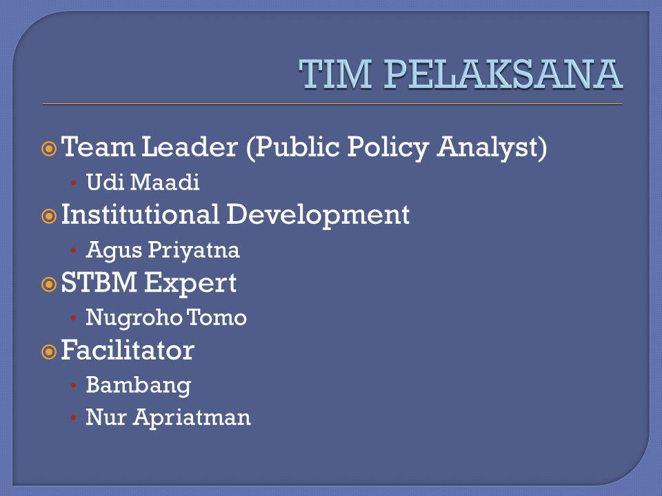  Team Leader (Public Policy Analyst) Udi Maadi  Institutional Development Agus Priyatna  STBM Expert Nugroho Tomo  Facilitator Bambang Nur Apriatm