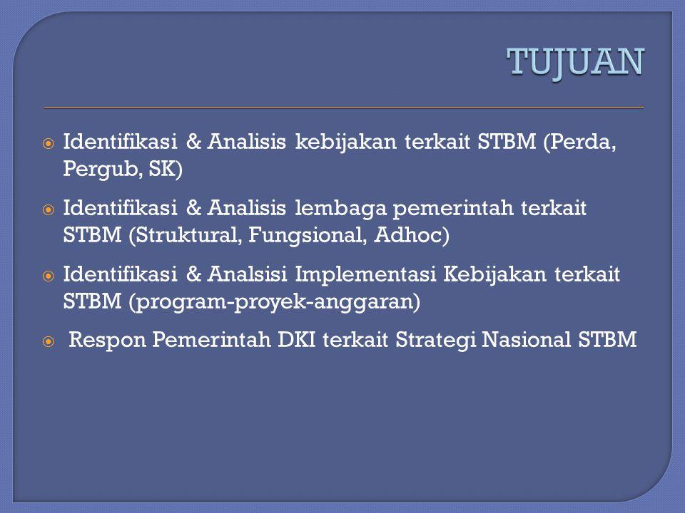  Identifikasi & Analisis kebijakan terkait STBM (Perda, Pergub, SK)  Identifikasi & Analisis lembaga pemerintah terkait STBM (Struktural, Fungsional