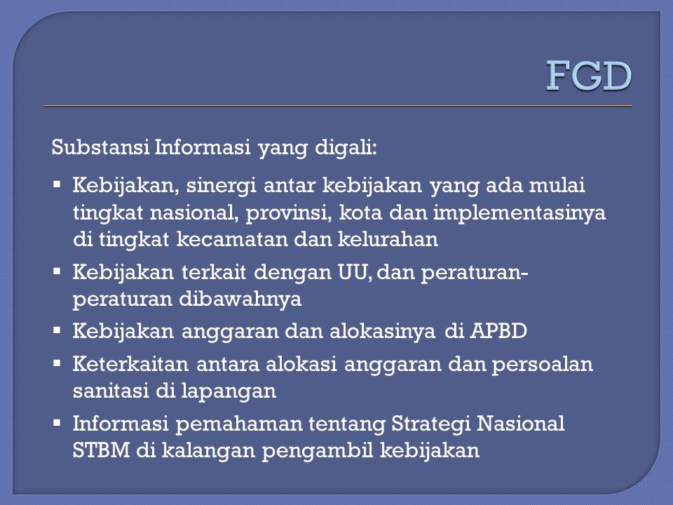 Substansi Informasi yang digali:  Kebijakan, sinergi antar kebijakan yang ada mulai tingkat nasional, provinsi, kota dan implementasinya di tingkat k
