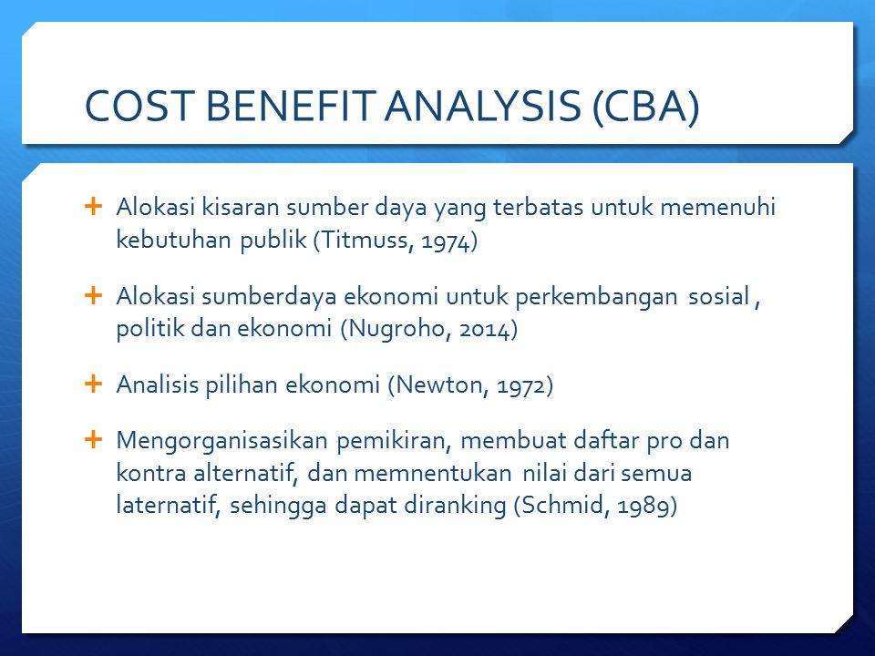 COST BENEFIT ANALYSIS (CBA)  Alokasi kisaran sumber daya yang terbatas untuk memenuhi kebutuhan publik (Titmuss, 1974)  Alokasi sumberdaya ekonomi u