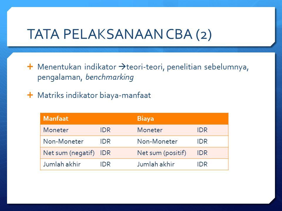  Menentukan indikator  teori-teori, penelitian sebelumnya, pengalaman, benchmarking  Matriks indikator biaya-manfaat TATA PELAKSANAAN CBA (2) Manfa