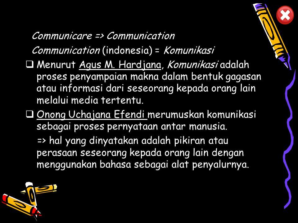 Communicare => Communication Communication (indonesia) = Komunikasi  Menurut Agus M.