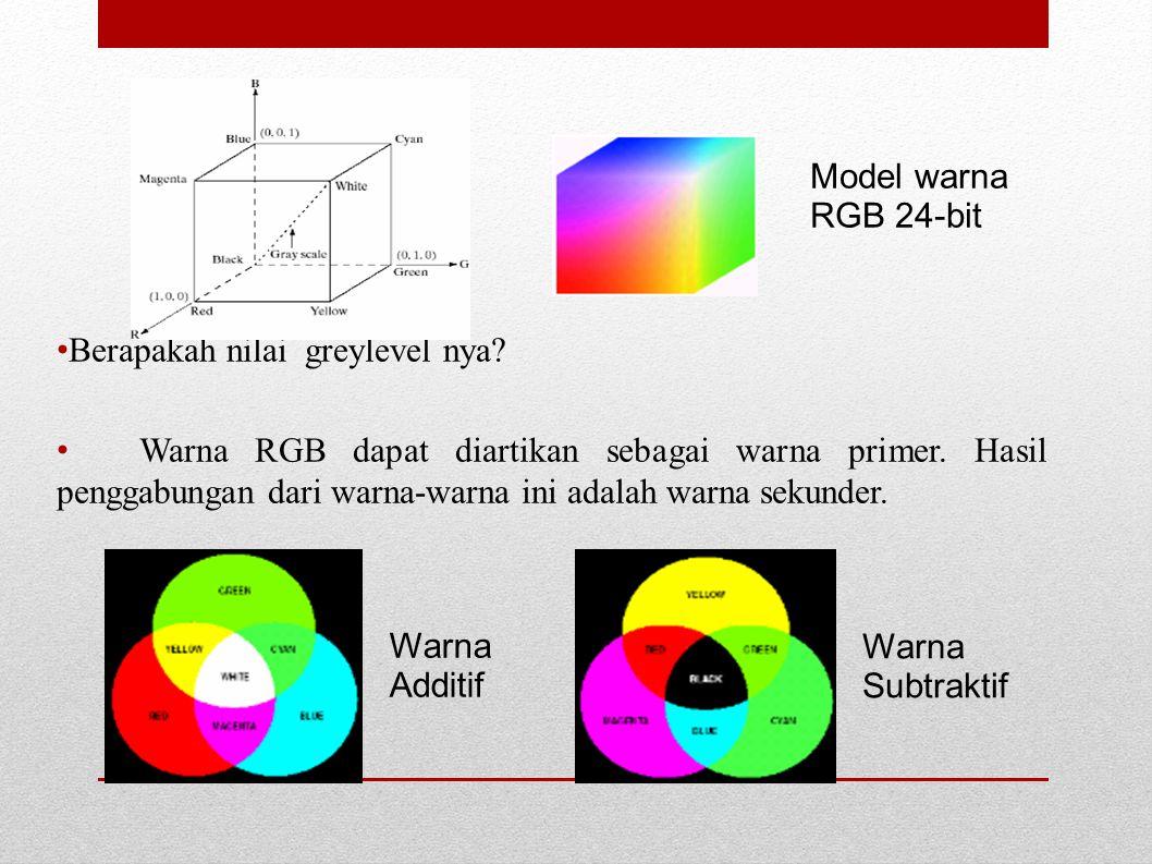 Berapakah nilai greylevel nya? Warna RGB dapat diartikan sebagai warna primer. Hasil penggabungan dari warna-warna ini adalah warna sekunder. Model wa