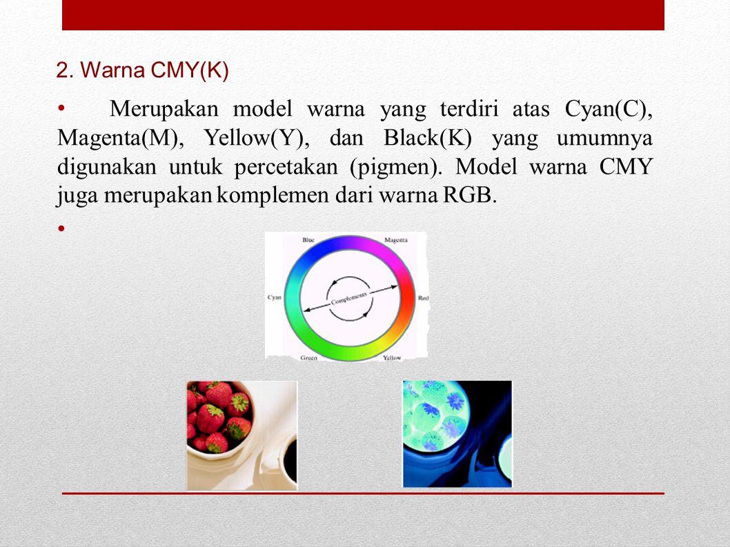 Merupakan model warna yang terdiri atas Cyan(C), Magenta(M), Yellow(Y), dan Black(K) yang umumnya digunakan untuk percetakan (pigmen). Model warna CMY