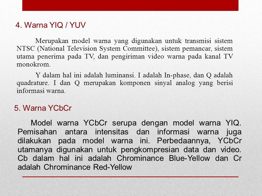 Merupakan model warna yang digunakan untuk transmisi sistem NTSC (National Television System Committee), sistem pemancar, sistem utama penerima pada T