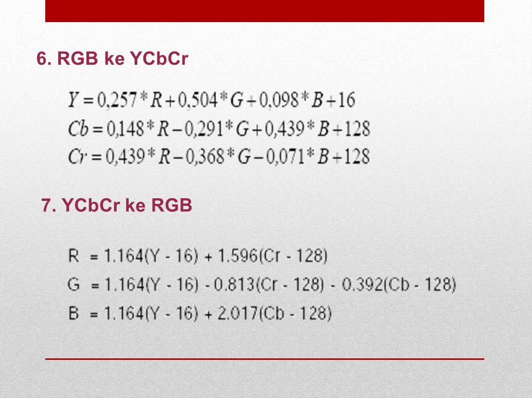 6. RGB ke YCbCr 7. YCbCr ke RGB