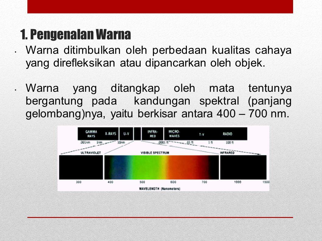 1. Pengenalan Warna Warna ditimbulkan oleh perbedaan kualitas cahaya yang direfleksikan atau dipancarkan oleh objek. Warna yang ditangkap oleh mata te
