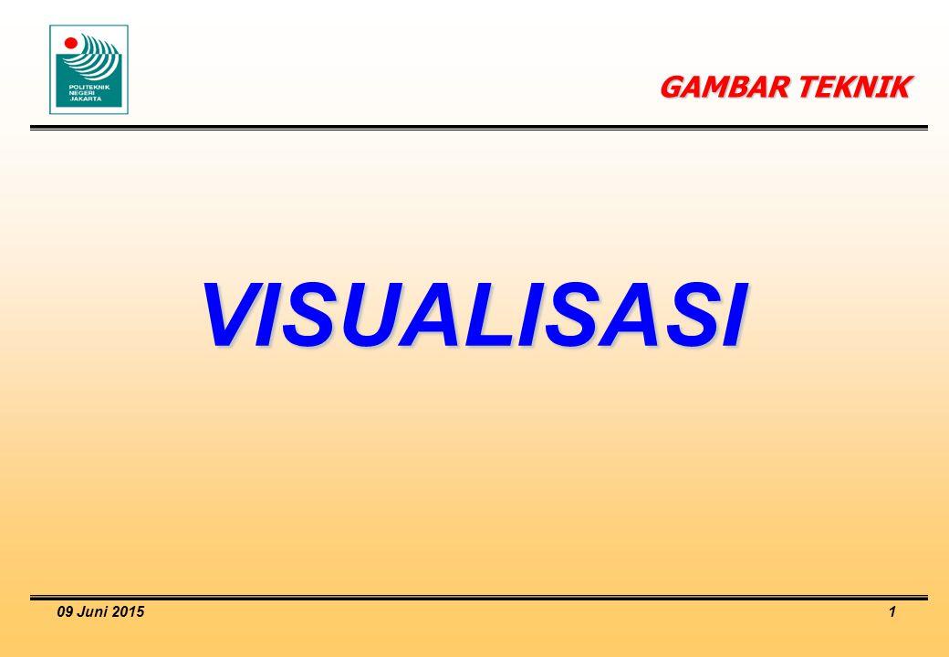 09 Juni 2015 2 Definisi Visualisasi  Visualisasi: Penggambaran dari suatu benda menurut penglihatan mata 1.Perspektif a.