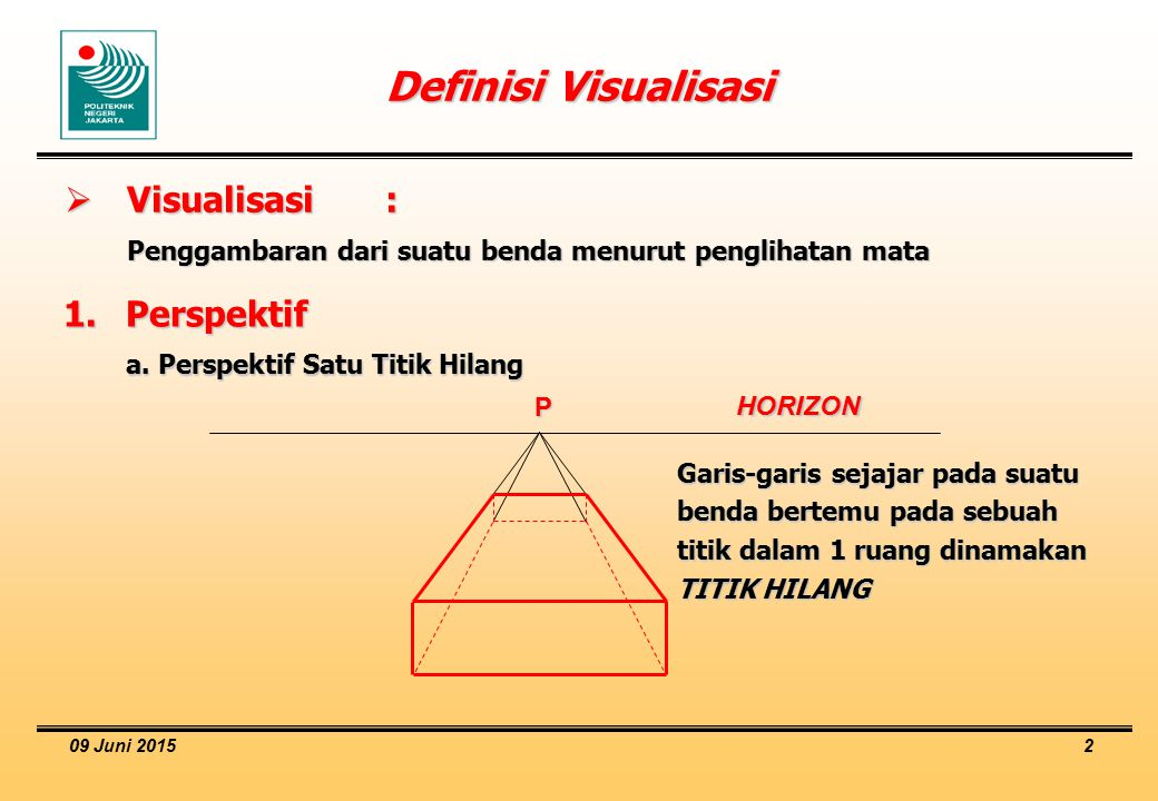 09 Juni 2015 2 Definisi Visualisasi  Visualisasi: Penggambaran dari suatu benda menurut penglihatan mata 1.Perspektif a. Perspektif Satu Titik Hilang