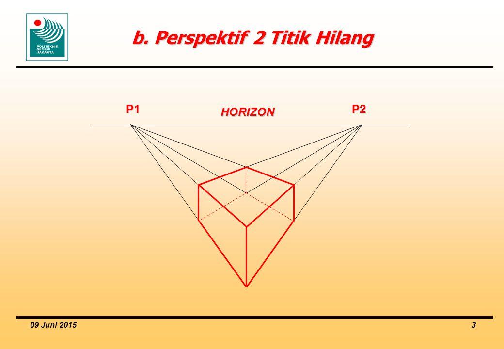 09 Juni 2015 3 b. Perspektif 2 Titik Hilang P1 P2 HORIZON