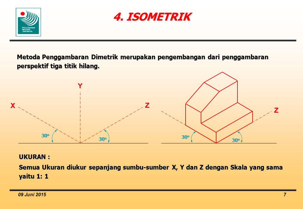 09 Juni 2015 7 4. ISOMETRIK Metoda Penggambaran Dimetrik merupakan pengembangan dari penggambaran perspektif tiga titik hilang. UKURAN : Semua Ukuran