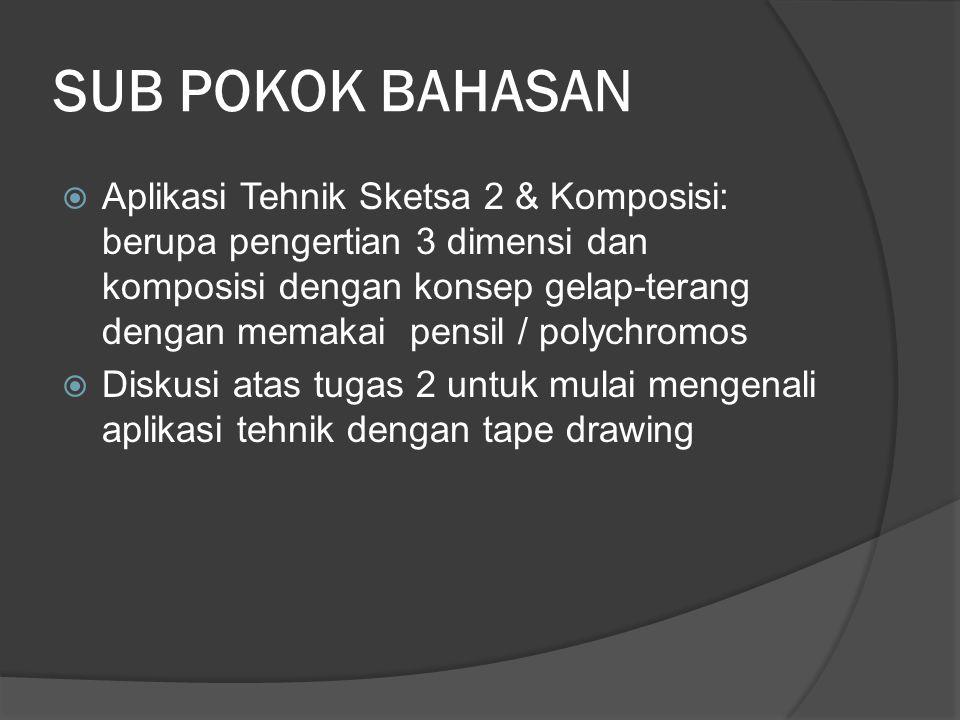 SUB POKOK BAHASAN  Aplikasi Tehnik Sketsa 2 & Komposisi: berupa pengertian 3 dimensi dan komposisi dengan konsep gelap-terang dengan memakai pensil / polychromos  Diskusi atas tugas 2 untuk mulai mengenali aplikasi tehnik dengan tape drawing