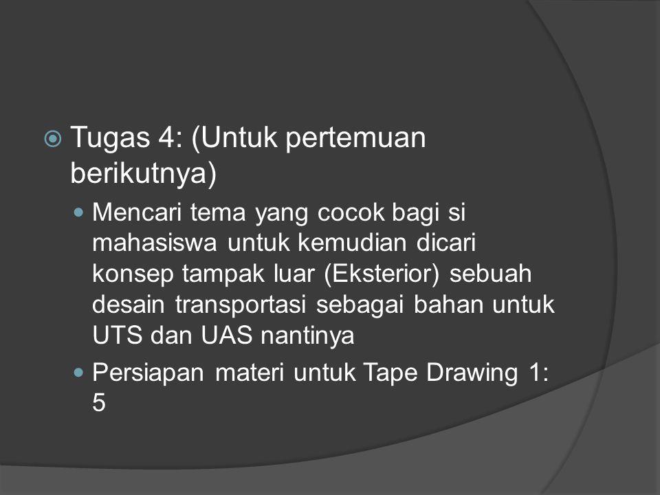  Tugas 4: (Untuk pertemuan berikutnya) Mencari tema yang cocok bagi si mahasiswa untuk kemudian dicari konsep tampak luar (Eksterior) sebuah desain transportasi sebagai bahan untuk UTS dan UAS nantinya Persiapan materi untuk Tape Drawing 1: 5