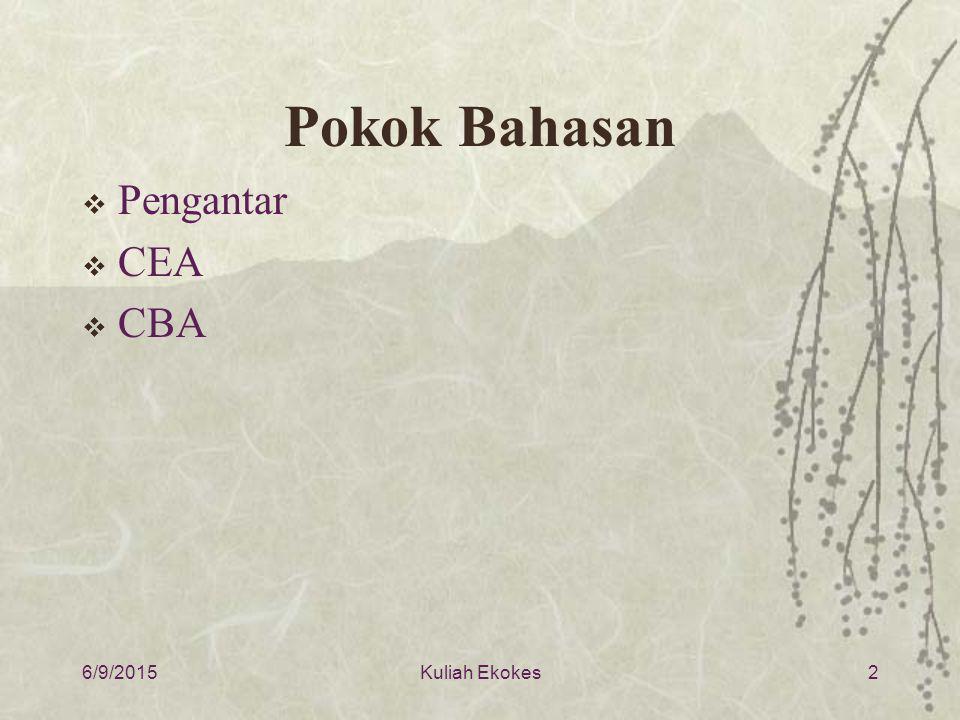 Pokok Bahasan  Pengantar  CEA  CBA 6/9/20152Kuliah Ekokes