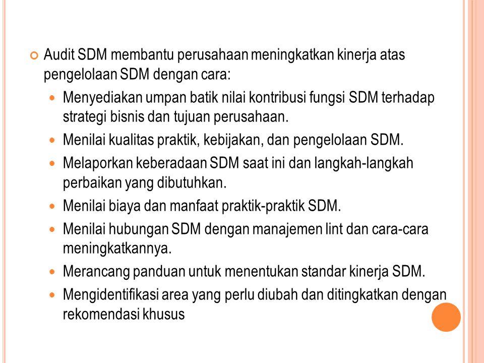 Audit SDM membantu perusahaan meningkatkan kinerja atas pengelolaan SDM dengan cara: Menyediakan umpan batik nilai kontribusi fungsi SDM terhadap stra
