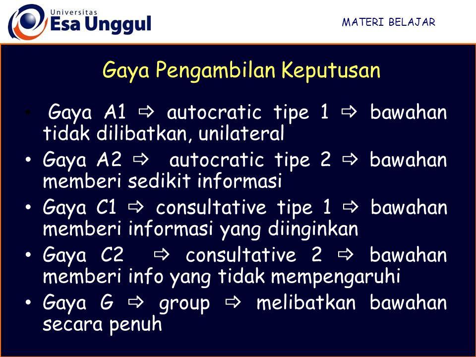 MATERI BELAJAR Gaya Pengambilan Keputusan Gaya A1  autocratic tipe 1  bawahan tidak dilibatkan, unilateral Gaya A2  autocratic tipe 2  bawahan mem