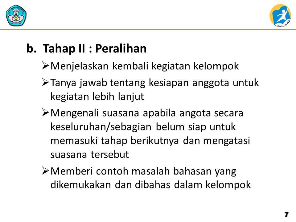 b.Tahap II : Peralihan  Menjelaskan kembali kegiatan kelompok  Tanya jawab tentang kesiapan anggota untuk kegiatan lebih lanjut  Mengenali suasana
