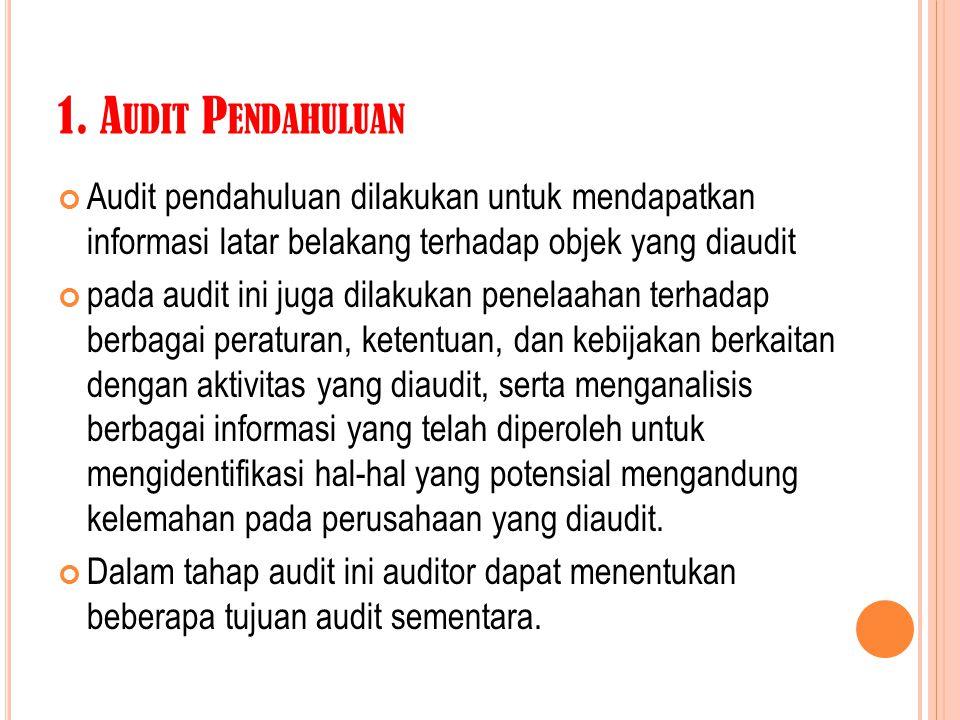 1. A UDIT P ENDAHULUAN Audit pendahuluan dilakukan untuk mendapatkan informasi latar belakang terhadap objek yang diaudit pada audit ini juga dilakuka
