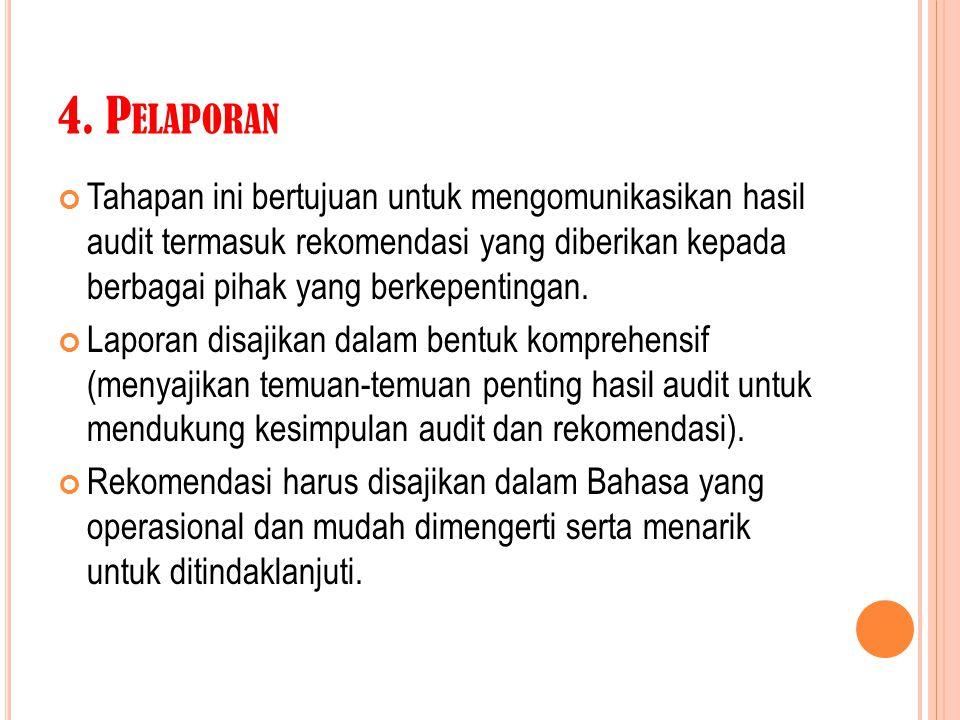 4. P ELAPORAN Tahapan ini bertujuan untuk mengomunikasikan hasil audit termasuk rekomendasi yang diberikan kepada berbagai pihak yang berkepentingan.