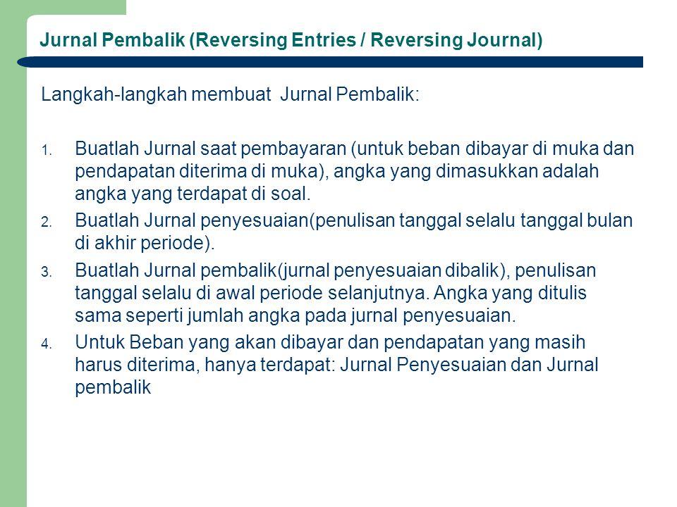 Jurnal Pembalik (Reversing Entries / Reversing Journal) Langkah-langkah membuat Jurnal Pembalik: 1. Buatlah Jurnal saat pembayaran (untuk beban dibaya