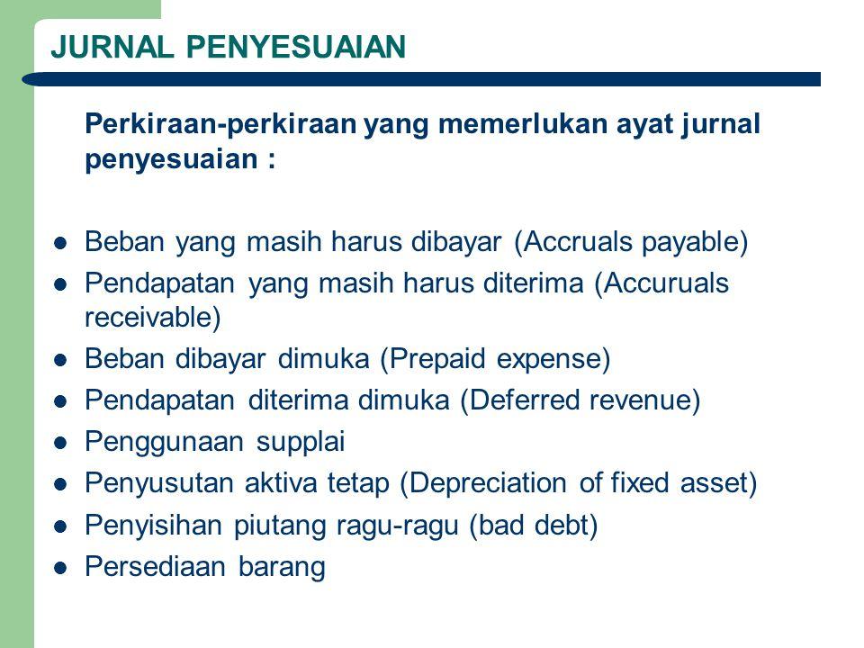 JURNAL PENYESUAIAN Perkiraan-perkiraan yang memerlukan ayat jurnal penyesuaian : Beban yang masih harus dibayar (Accruals payable) Pendapatan yang mas