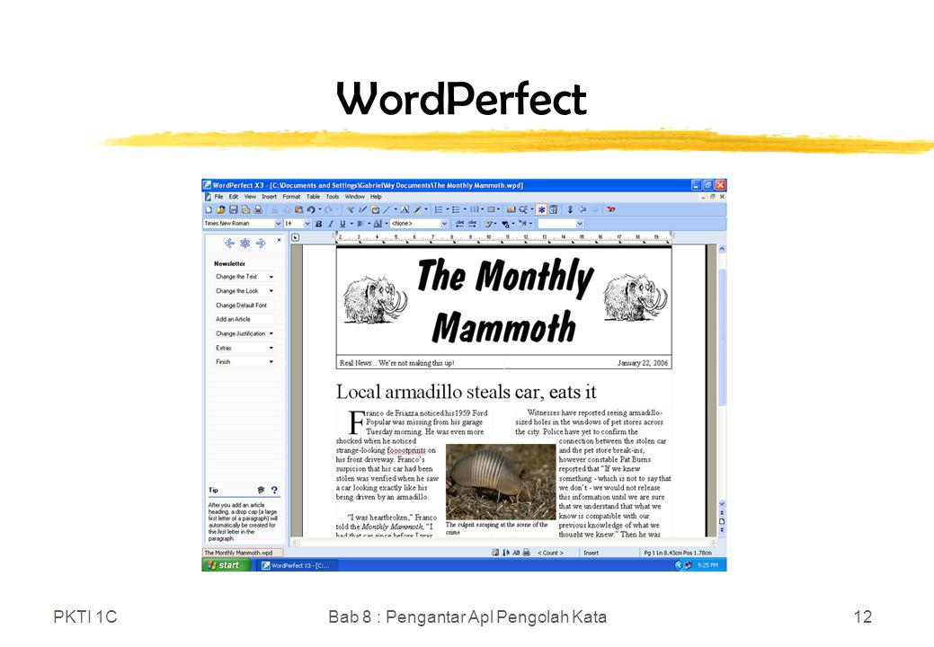 PKTI 1CBab 8 : Pengantar Apl Pengolah Kata12 WordPerfect