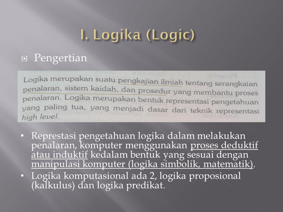  Pengertian Represtasi pengetahuan logika dalam melakukan penalaran, komputer menggunakan proses deduktif atau induktif kedalam bentuk yang sesuai de