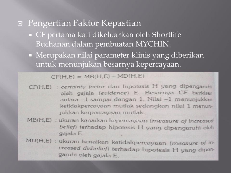  Pengertian Faktor Kepastian  CF pertama kali dikeluarkan oleh Shortlife Buchanan dalam pembuatan MYCHIN.  Merupakan nilai parameter klinis yang di