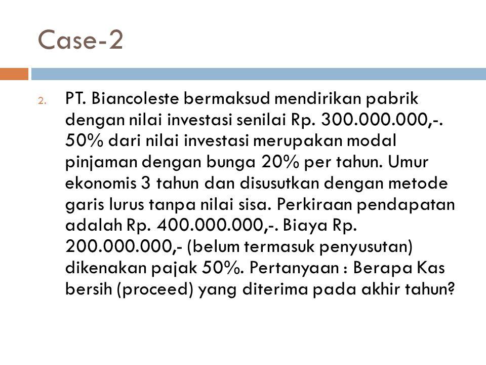 Case-2 2. PT. Biancoleste bermaksud mendirikan pabrik dengan nilai investasi senilai Rp. 300.000.000,-. 50% dari nilai investasi merupakan modal pinja