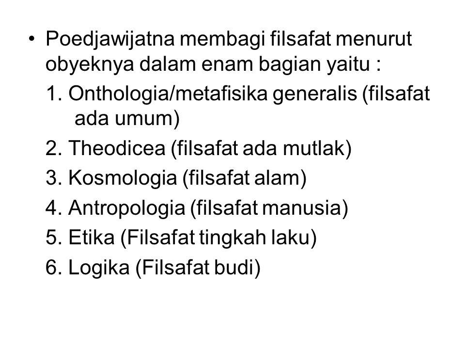 Poedjawijatna membagi filsafat menurut obyeknya dalam enam bagian yaitu : 1. Onthologia/metafisika generalis (filsafat ada umum) 2. Theodicea (filsafa