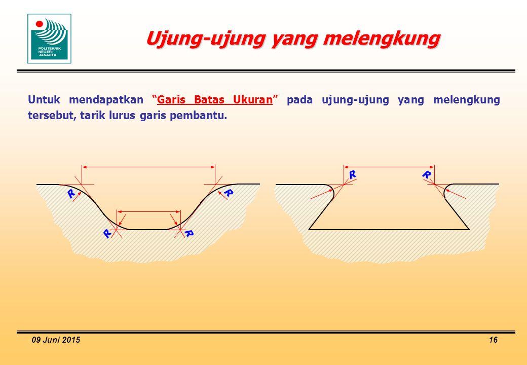 """09 Juni 2015 16 Ujung-ujung yang melengkung Untuk mendapatkan """"Garis Batas Ukuran"""" pada ujung-ujung yang melengkung tersebut, tarik lurus garis pemban"""